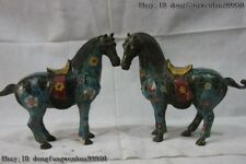 """9"""" China Pure Bronze Wire Inlay Cloisonne Enamel Flower Lucky Horse Statue Pair"""