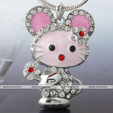Cute Enamel Crystal Rhinestone Standing Metal Cat Pendant For Chain Necklace DIY