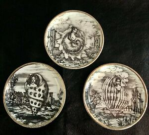 Set Of 3 VINTAGE FORNASETTI Gold Shell Women Black And White Coasters