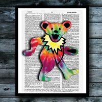 Grateful Dead Art Vintage Dictionary Poster Jerry Garcia Bear Retro Print Decor