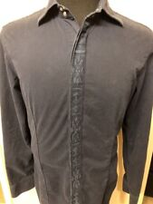 Vintage Iceberg Men's Shirt Size M Slim Fit Dark Blue Snap Button 100% Cotton
