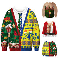 Christmas Unisex Ugly Sweater Womens Mens Xmas Jumper Sweatshirt Pullover Tops