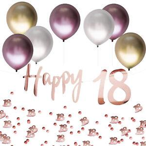 18. Geburtstag Jubiläum Deko Set - Luftballons + Happy 18 Girlande + Konfetti