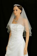 2T Ivory Short Length 30 Rhinestones Pencil Center Gathered Bridal Wedding Veil