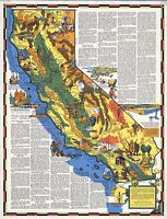 1938 CALIFORNIA state pictorial map history folklore whimsical POSTER Aitchison