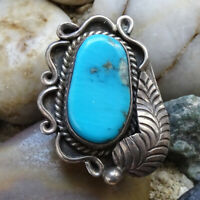 Vintage Native American 1970s Navajo Turquoise +  925 Sterling Ring Size 7 1/4