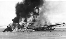 WW2  Photo WWII US P-38 Fighter Burns After Crash on Leyte  World War Two / 5288
