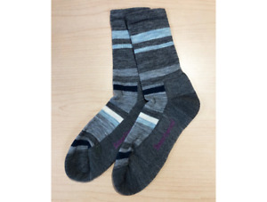 Smartwool Women's Striped Light Hiking Crew Socks Medium Gray Size L (10-12.5)