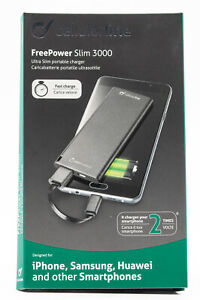 3000mAh Powerbank Cellularline FreePower Slim Externer Zusatz Akku USB 236