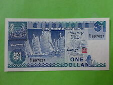 Singapore $1 1987 Ship (UNC with yellow toning), Goh Keng Swee