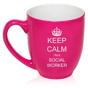 16oz Bistro Mug Ceramic Coffee Glass Tea Cup Keep Calm I'm A Social Worker