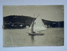 TRIESTE barca vela vecchia cartolina fotografica R. Padovan Sistiana Duino