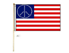 5' Wood Flag Pole Kit Wall Mount Bracket With 3x5 Usa Peace Stars Polyester Flag