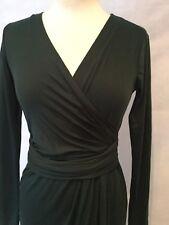 DKNY L/S FAUX WRAP DRESS BLACK EXTRA SMALL