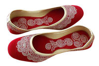 Women Shoes Indian Handmade Leather Ballerinas Red Jutties UK 2.5-5 EU 35-38