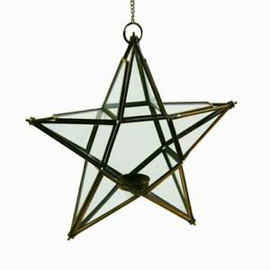 Nkuku Antique Brass Glass Hanging Star Tealight Holder / Hanging Decoration