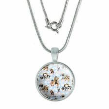 """Dogs Puppies Club Pattern 0.75"""" Pendant with Sterling Silver Plated Chain"""