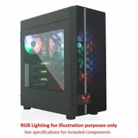 NEW! Riotoro CR400 Gaming Case With Window Atx Mesh Front 2 X 12Cm Fans Red Led