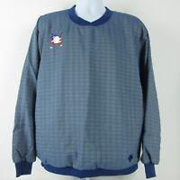 Descente Mens Texas Golf Pullover Lined Jacket Sz M Blue Plaid Checks USA Made