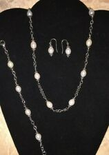 Honora sterling silver and pearl Pallini, earrings, necklace & bracelet set