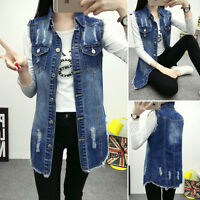 Women Casual Sleeveless Blue Denim Vest Jean Jacket Waistcoat Tunic Long Coat