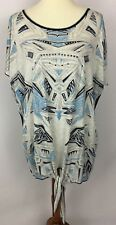 Edista Gray Blue Geometric Print Tie Front Casual Top Shirt Plus Size 2X
