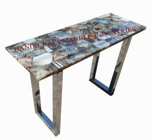 """48"""" Long Console Table Solid Natural Agate Top Steel Tube Legs Frame"""