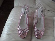 Ladies rosa metallico Sling Indietro Scarpe-Taglia 6E
