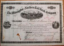 Wilmington & Northern Railroad 1881 Stock Certificate- Henry A Du Pont Autograph