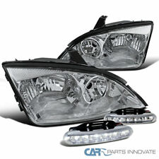 Fit 05-07 Ford Focus ZX4 Headlights Clear Head Lamps+6-LED DRL Bumper Fog Lamps
