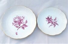 Pair Vintage Ludwigsburg Dishes Hand Painted Flowers in Puce Rose Aquilegia 1950