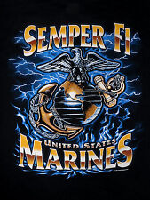 U. S. Marines SEMPER FI Black T-shirt XL Great Colors! Execellent Condition! Rar