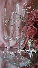 Swarovski Crystal Personalized Wedding Toasting Champagne Wine Glass Flute Bling