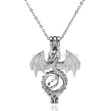 K55 Pterosaurs Locket Necklace Dragon Bead Pearl Cage Stainless Steel Chain Boy