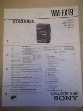 Sony Service Manual~WM-FX19 Walkman Radio Cassette Player~Original~Repair