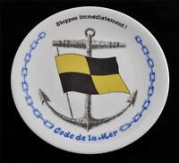 Porcelaines Champs Elysees Paris French CODE DE LA MER Flag Nautical Plate #3