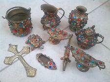 Bronze decorative pieces with  Semi Precious Colorful Stones Old/Vintage.