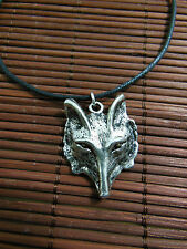 A New Wax Cord Tibetan Silver Wolf Charm Pendant Necklace