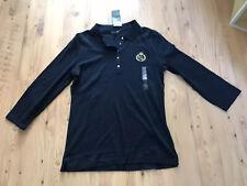 BNWT Ralph Lauren navy blue polo top Size L women's gold crest logo