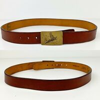 VTG AD JOHNSON Brown Leather Belt 34 Duck Hunting Engraved Brass Buckle Cowhide