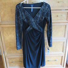 Women's Chaps by Ralph Lauren black dress w/ lace size S brand new NWT $105
