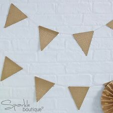 KRAFT BUNTING -4m Garland- Luxury Brown with Gold Foiled Spotty/Polka Dot Design