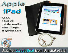 Apple iPad 16GB 3G Original 1st Gen A1337 w/ Charger & Specks Case - Locked SIM