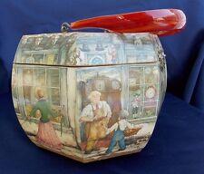 Vintage Anton Pieck Decoupage Purse Octagon Box Lucite Handle General Store Town