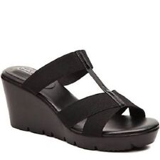 New Charles By Charles David Womens Victor Black Wedge Sandals Sz 7.5