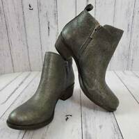 Lucky Brand Womens Basel Ankle Boots Pewter Side Zipper Leather 6 M EUR 36.5 New