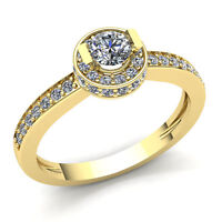0.5ctw Round Diamond Ladies Bridal Halo Solitaire Engagement Ring 10K Gold