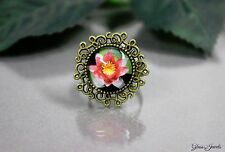 Glass Jewels Bronze Ring Cabochon Vintage Blume Größenverstellbar 52-56 #Q023