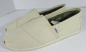 Toms Mens Classic Slip On Flat Shoes, Natural Canvas, US 11.5