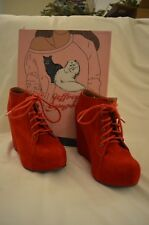 JEFFREY CAMPBELL Red Suede Lace-up Platform Ankle Bootie Size 8 GREAT condition